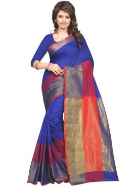 Designer Blue Color Poly Cotton Saree