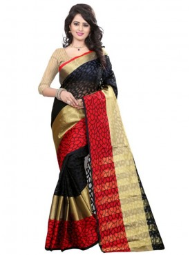 Designer Black Color Brasso Cotton Saree