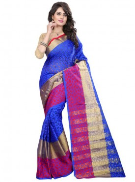 Designer Blue Color Brasso Cotton Saree