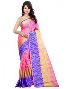 Designer Pink Color Brasso Cotton Saree