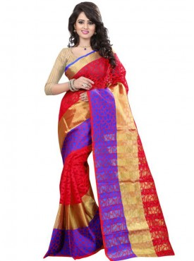 Designer Red Color Brasso Cotton Saree