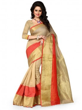 Designer BeigeColor Poly Cotton Saree