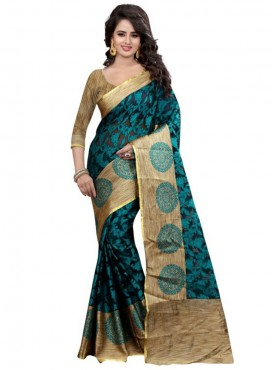 Designer Turquoise Color Brasso Cotton Saree