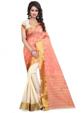 Designer Peach Color Brasso Cotton Saree