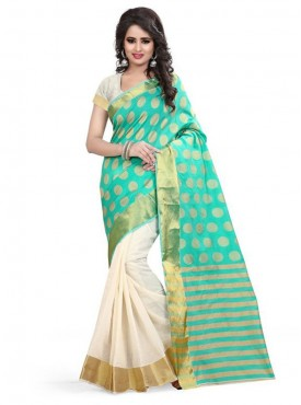 Designer Turquoise Color Poly Cotton Saree