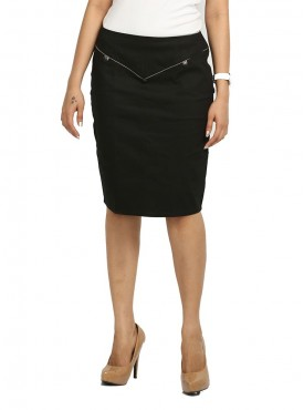 Black With Grey Piping Skirt