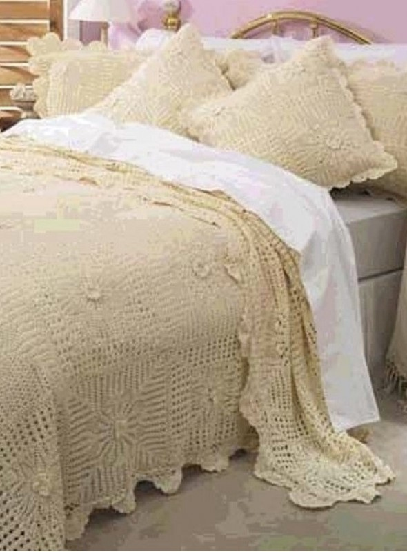 Vintage Ethnic Full Lace Bed Spread