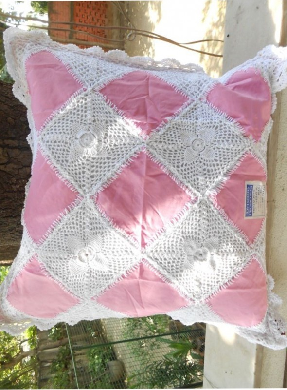 Linen Lace Square cushion Cover in White and Pink Color