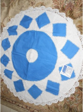 Round Cushion Cover In White And Blue Color