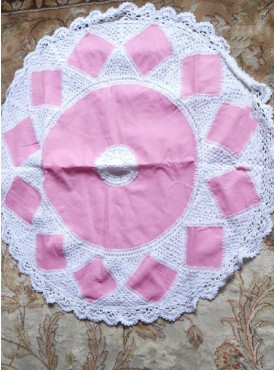Round Cushion Cover In White And Pink Color