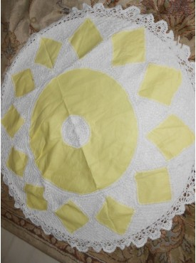 Round Cushion Cover In White And Yellow Color