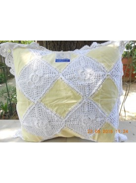 Cushion Cover In White And Blue Color