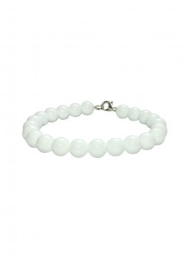 Satyamani Natural White Agate Beads Bracelet with Hook