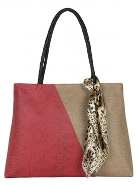 Cappuccino 24103A Red, Beige Toupe  Handbag