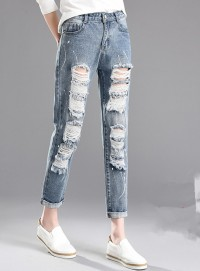 Summer Wholesale 2 Colors Broken Holes Cropped Jeans