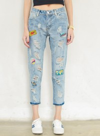 Wholesale Fashion Broken Holes Patches Skinny Cropped Jeans