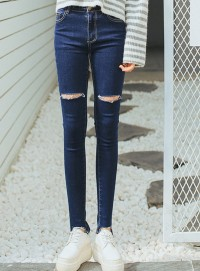 Wholesale Korea Broke Knees Skinny Denim Long Jeans