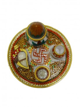 Marble Puja Thali With Kalash