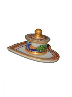Designer Marble Box With Pan Shap Tray