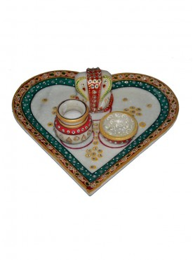 Designer Marble Pan Shap Plate With Ganesh