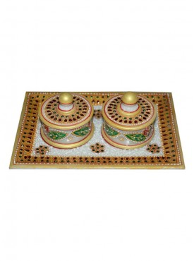 Decorated Marble Tray With Two Dibbi