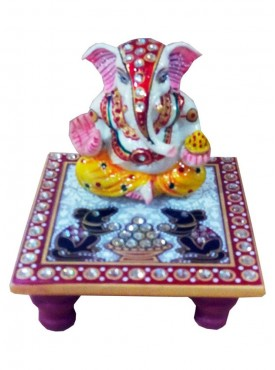 Decorated Marble Chowki Ganesh