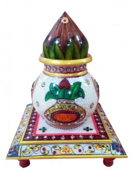 Decorated Marble Chowki With Kalash And Nariyal