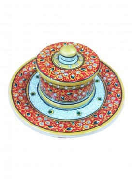 Marble Round Plate With One Dibbi