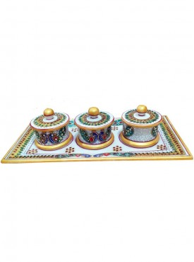 Decorated Marble Three Dibbi Tray Set