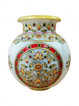 Handcrafted Decorated Marble Matki