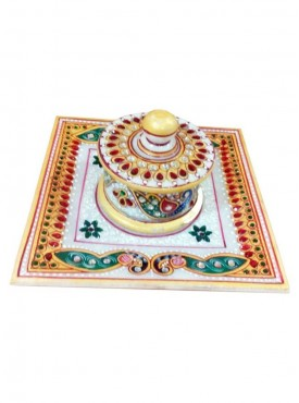 Marble Square Plate With One Dibbi