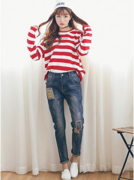 2016 New Fashion Letters Patches Skinny Long Jeans