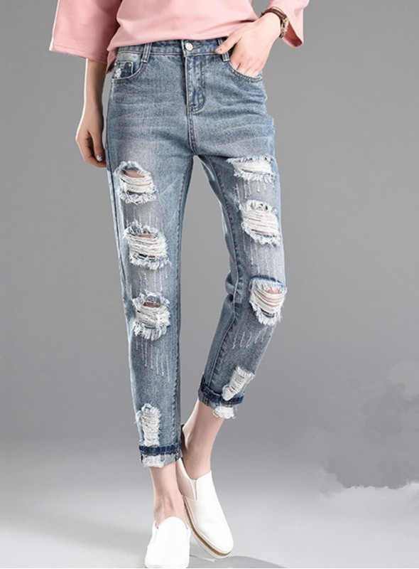 Cheap Fashion 2 Colors Broken Holes Ninth Jeans