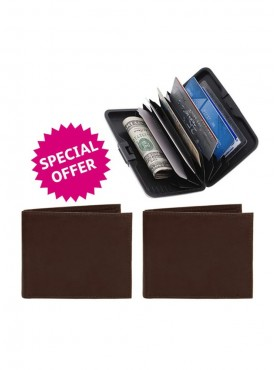 Jack Klein Pack of 2 Leather Wallet And Aluma Wallet