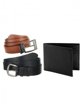 Jack Klein Pack of 2 Leather Belt And 1 Leather Wallet
