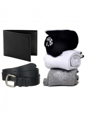 Jack Klein Combo of Leather Belt, Wallet And Pack of 3 Socks