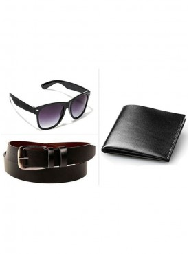 Jack Klein Combo of Leather Belt, Wallet And Wayfare Sunglass