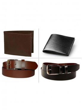 Jack Klein Pack of 2 Different Color Leather Belt And Pack of 2 Wallet For Men