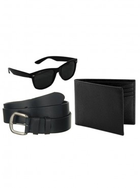 Jack Klein Combo of Leather Wallet, Belt And Wayfare Sunglass
