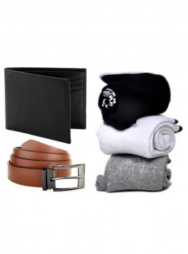 Jack Klein Combo of Leather Wallet, Belt And Pack of 3 Socks