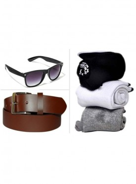 Jack Klein Combo of Leather Belt, Wayfare Sunglass And Pack of 3 Socks