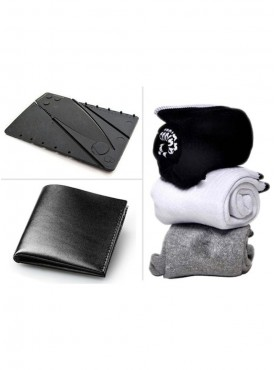 Jack Klein Combo of Leather Wallet, Pack of 3 Socks And Credit Card Knife