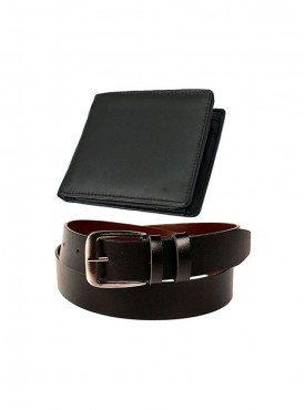 Combo of Black Color Leather Wallet And Belt