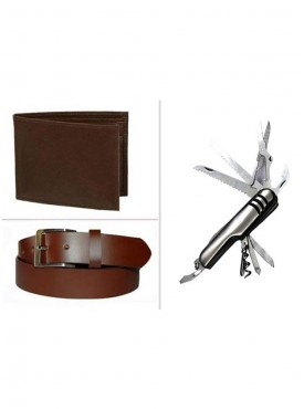 Jack Klein Combo of Brown Wallet And Belt With Swiss Knife