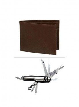 Jack Klein Combo of Brown Color Leather Wallet And Swiss Knife