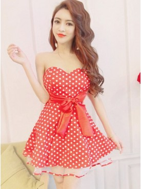 Cute Fashion 4 Colors Bowknot Waist Dots Strapless Gauze Dress