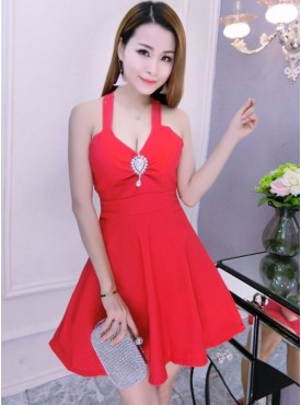 Sexy Wholesale 3 Colors V-neck Backless Umbrella Dress