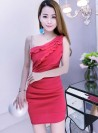 Sexy Women 4 Colors Sloping One Shoulder Flouncing Dress