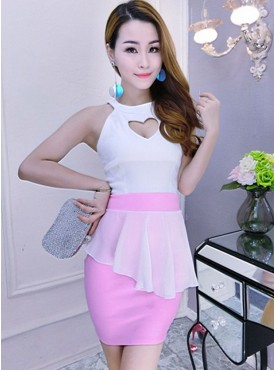 Charming Lady 3 Colors Heart Bust Flouncing Tank Dress