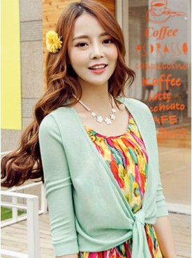 Wholesale All Match 3 Colors Mid-sleeve Short Cardigan Blouse